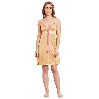 Claura Women's Satin Nighty (Gold, Free Size)