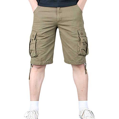 Pants Pure Color Shorts Briskorry Herren Outdoor Taschen Strand Arbeit Hosen Cargo Pant Cargohose Airborne Vintage Outdoorhose Jägerhose Baumwolle Regular Fit