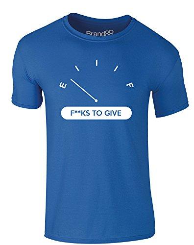 Brand88 - No F**ks to Give, Erwachsene Gedrucktes T-Shirt Königsblau/Weiß
