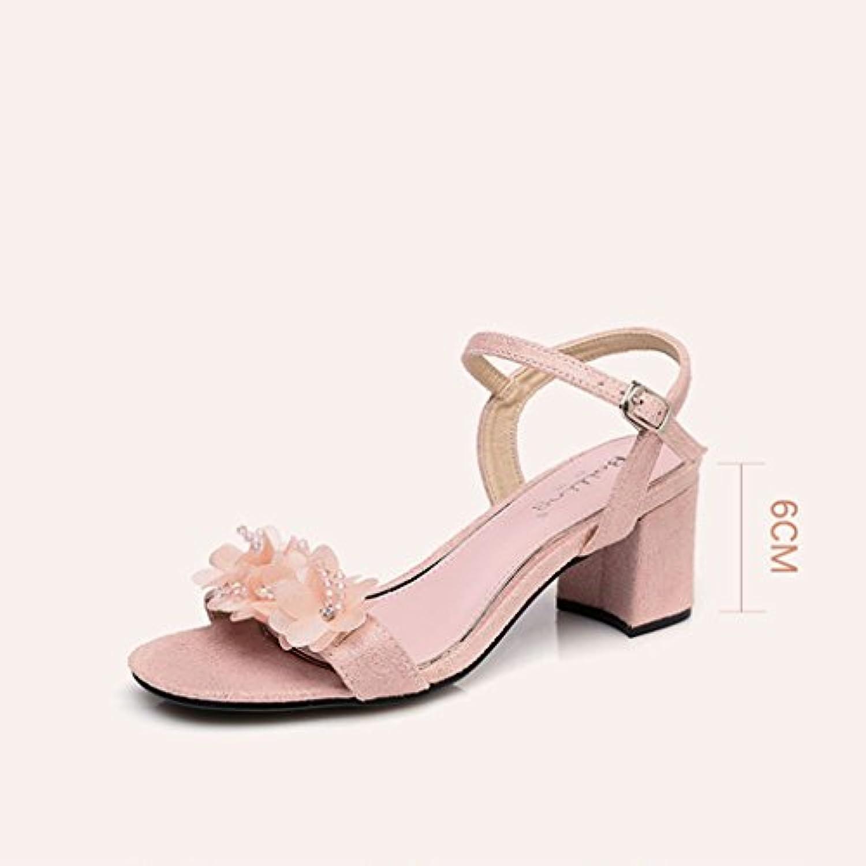 H&Y HY Frauen Sommer High Heels mit rosa Blumen verziert kleine frische Sandalen (Farbe : Pink größe : 36)