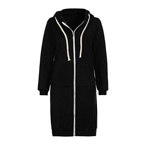 Women's Long Sleeve Hooded Hoodies Jumper Warm Cardigan Zip Up Jacket Sweatshirt Oversized Long Coat By Quistal (XXXL,