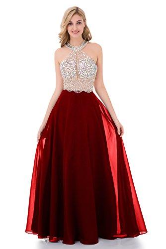 Baijinbai Sparkly Kristall Friesen Prom Kleider lang 2017 Sexy Open Back Partei Ballkleid Schaufel Brautjungfernkleider Red-UK10 (Lange Open Kleid Back)