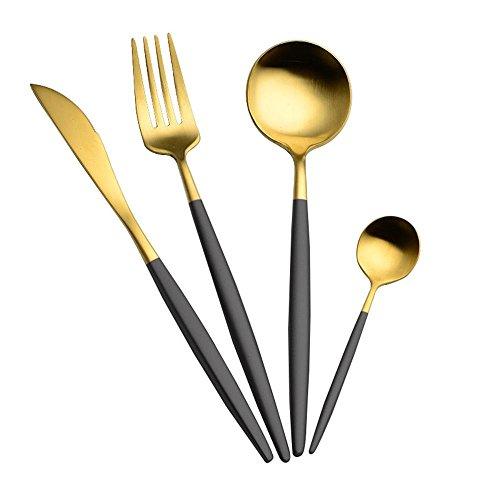 Aolvo manger Sainement Ustensiles et couverts en acier inoxydable argenterie Ensemble, Service pour 4, Poli miroir, un couteau/fourchette/cuillère, noir/doré, 13 cm