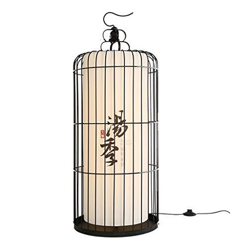 Lámpara de pie La jaula de pájaros de hierro forjado Linterna Lámpara de pie, de múltiples funciones con el gancho creativo Luz (tamaño : 30X60CM)