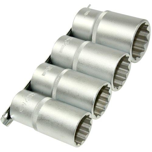 4 x Lange 12-KANT/Zwölfkant Steckschlüsseleinsätze Stecknuss Schraubenschlüssel VIELZAHN Nuss 27 30 32 36 mm auf Stechschiene aus Chrom-Vanadium-Stahl
