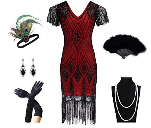 Charm.L Grace Costume 1920er Jahre Damen Gatsby Kostüm Flaper Kleider V-Ausschnitt Fransen Kleid mit 20er Jahre Zubehör Set - Rot - Small (1920's Vintage Kostüm Schmuck)