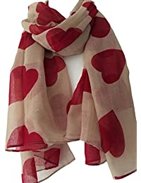 Purple Possum Beige Scarf with Red Heart Print, Ladies Taupe Wrap Shawl , Love Hearts Sarong