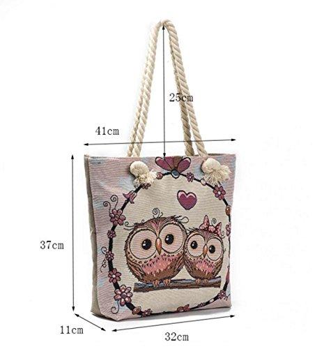 FZHLY Canvas Bag Grande Gufo Degli Occhi Del Modello Del Sacchetto Di Grande Capienza,547a 547b