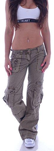Damen Cargohose Stoffhose Cargo Hose Hüfthose Jeans XS 34 S 36 M 38 L 40 XL 42 XXL 44 (XXL 44, Khaki) (L 40, Beige)