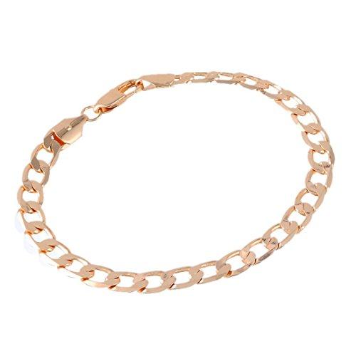 Souarts Bijoux Femme Bracelet Chaîne Fermoir 18K Or Plaqué 21.8cm 1PC