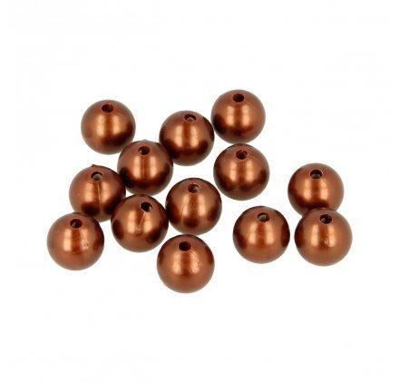 Perles rondes 14 mm - Chocolat Cuivré - 28 pcs environ