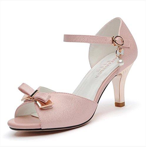 XY&GKSandalen Sommer Ferse Ferse Ferse Fisch Mund Sommer Sandalen, komfortabel und schön 39 Pink