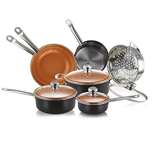 SIMPLE & Co 11PCS Rame pentole Antiaderente–Set di pentole a induzione in Ceramica pentole, lavastoviglie e Forno Copper Cookware Set- (Nero)
