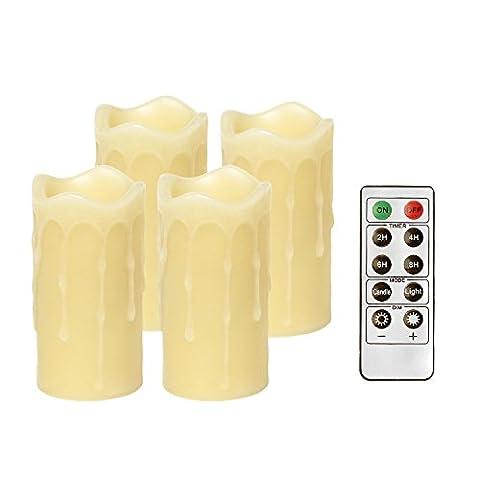 Give U LED bougies votives, Bougies Pray, Bougies sans flamme, avec télécommande et minuteur, gouttes fondu pilier en forme de bougies, fonctionnement à piles, ivoire, cire véritable, pour maison décoration et éclairage lot of 4 (10.2*5.1cm)