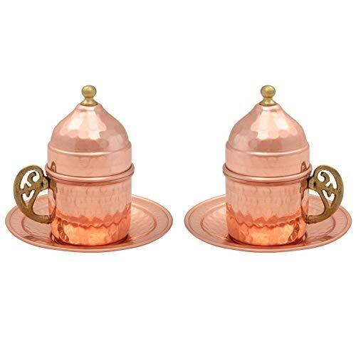 Mandalina Magic Copper Türkische Kaffeetasse mit Untertassen und Deckel für 2 Personen