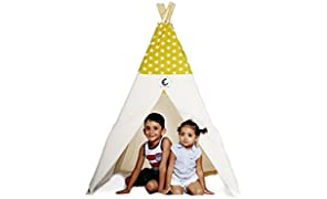 CuddlyCoo Cotton Canvas Teepee Play Tents for Kids with Wooden Dowels in Mustard Sun