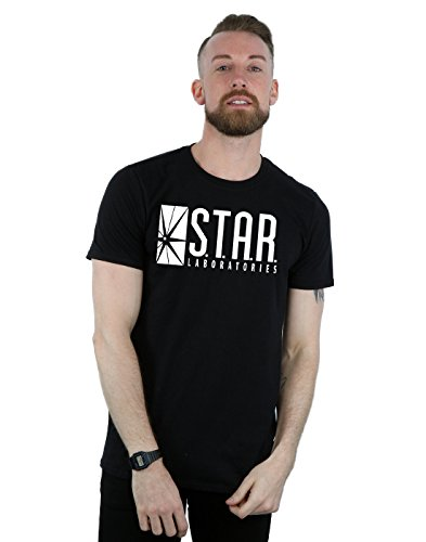Flash-mens Tee (DC Comics Herren The Flash STAR Labs T-Shirt Medium Schwarz)