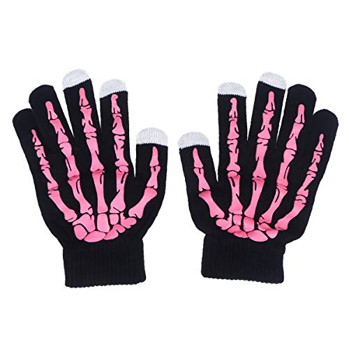 für Halloween, Skelett-Krallen-Handschuh, weich, für den Winter, Unisex, Rosa ()