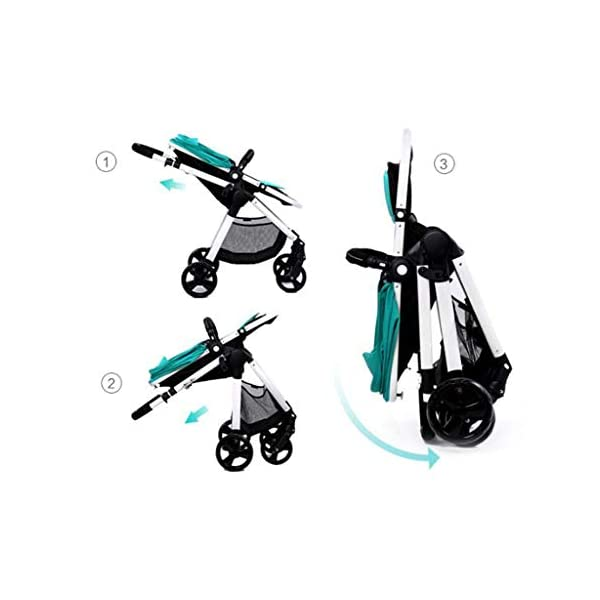 Comfortable prams Baby Stroller High Landscape Can Sit Horizontal Portable Folding Two-Way Shock Absorber Stroller Newborn Four Seasons Universal Travel (Color : Green) CAR 2. Adjustable awning, wide breathable, waterproof. 3. Adjustable pedals. 1. Stepless backrest adjustment, rotary button design. 3