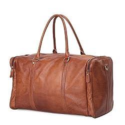 Leathario Herren Leder Reisetasche Weekender Handgepäck Umhängetasche Reisegepäck Handtasche Schultertasche Reisetasche Retro