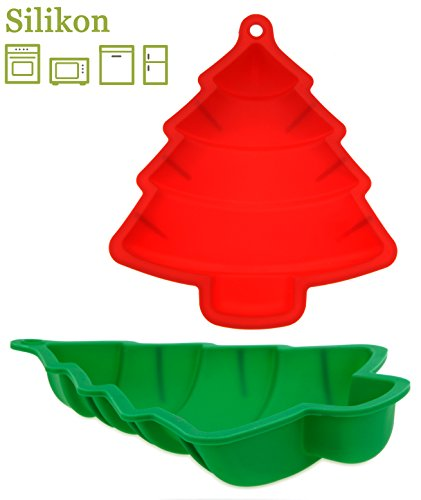 matrasa Silikon Backform Tannenbaum - Weihnachtsbackform 23,5 cm - Silikonbackform (rot)