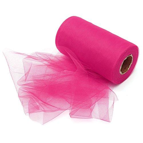 100Meter (300FT) Tüll Rolle Spule Geschenkpapier Tutu Party Geburtstag Crafts Brautschmuck Schleife Rock Hochzeit Dekoration Schleife Geschenk hot pink (Hot Pink Und Schwarz-party Dekorationen)