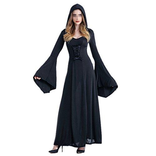 xiemushop Disfraz de Bruja para Mujer Vestido de Vampiresa Reina Cosplay Halloween Negro