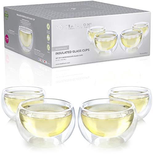Teabloom Doppelwandige Tassen - Set mit 4 Isolierglasbechern für Tee, Kaffee, Espresso und mehr - 150ml - Classica Teetassen Kollektion