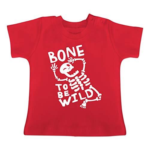Anlässe Baby - Bone to me Wild Halloween Kostüm - 6-12 Monate - Rot - BZ02 - Baby T-Shirt Kurzarm