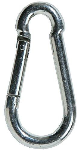 Preisvergleich Produktbild SBS Karabinerhaken 8 x 80mm / 10 Stück / Stahl verzinkt Silber / Karabiner DIN 5299 / Feuerwehrkarabiner