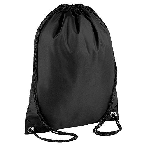 Drawstring Backpack Waterproof Bag Gym PE DUFFLE School Kids Boys Girls Sack (Black)