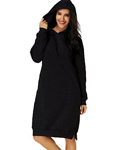 Kidsform Damen Casual Maxi Lange Langarm Oversize Hoodies Pullikleid Kleid Dress Oberteil Schwarz EU 40-42/Etikettgröße L (Lange Kleider Casual)