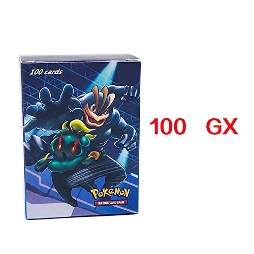 2019, 100 Karten, Pokémon-Sammelkarte amePokémon-Karte GX + EX + Mega + Energy + Trainer & 8 passende Modi zur Auswahl Pokémon-Kartenspiel,100GX