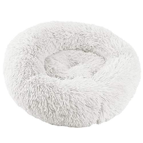 JKRTR Mode Hund Runde Katze Winter Warmer Schlafsack Langes Plüsch Weiches Bequem Haustierbett Beruhigendes Bett(Weiß,L)