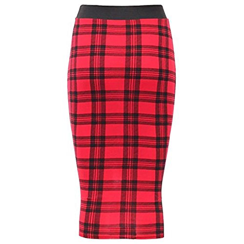 Friendz Trendz -Womens Gonna longuette elastica in vita con elastico in vita stampata RED TARTAN