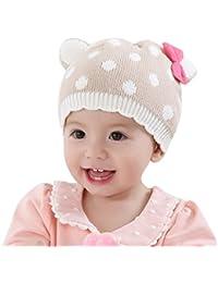 Happy Cherry Bonnet Bébé Enfant Fille Garçon Hiver Automne Chaud à Pois 3D  avec Noeud Papillons Beanie Chapeau Crochet Tricot Hat… 4dc65efa26d