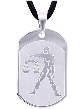 DonDon 50 cm Kautschuk Halskette mit Edelstahl Sternzeichen Waage Anhänger in schwarzem Samtbeutel