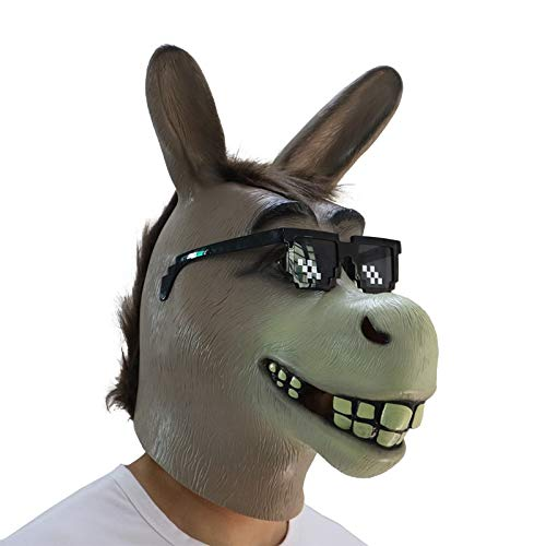 Shrek Garrulous Maske Halloween Party Masken Creepy Funny Donkey Pferdekopf Maske Adult Party Kostüm Karneval Latex   Tier Masken