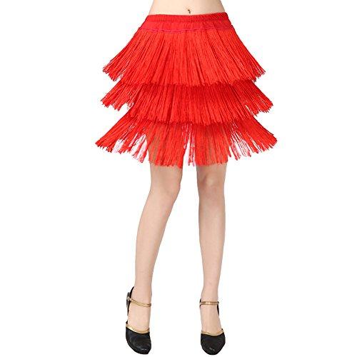 (Frauen Classic Latin Dance Kleid Büste Rock Quaste Rock Milch Seide Tanz Kleid Tanz Show Kostüm,Red,L)