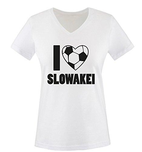 Slowakei Flagge T-shirt (I Love SLOWAKEI - Damen V-Neck T-Shirt - Weiss/Schwarz Gr. S)