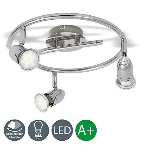 B.K. Licht plafonnier LED 3 spots orientables, 3X3W, GU10, IP20, spots plafond LED salon salle à manger chambre cuisine couloir, lumière blanche chaud