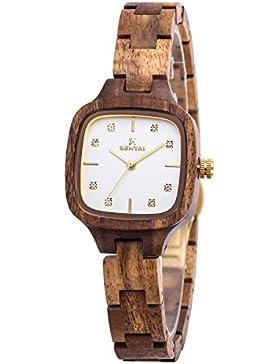 uwood aus natürlichem Akazienholz Material Holz Watch Damen Lady Girl Diamond Watch