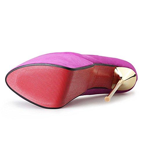 L@YC Femme Talons Hauts avec Orteil Ouvert Suede 23CM Soirée et Soirée Rose/Violet/Noir purple