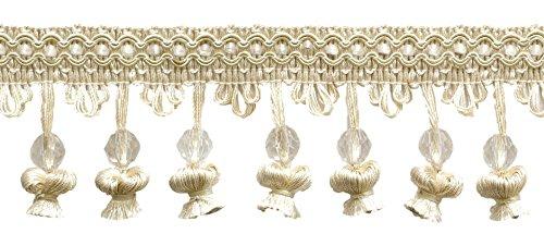 DecoPro 4,5m (6Stück mit Perlen Zwiebel Tassel Fringe, Elfenbein/-, A2, Ecru/4.5m, 15m) -