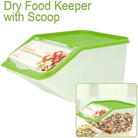 Recipientes de plástico de almacenamiento para seco foods- granos, arroz, tuercas, pasta- almacenar comida para mascotas aves con scoop-lightweight Durable tapa de colores, plástico, Verde, pack de 1
