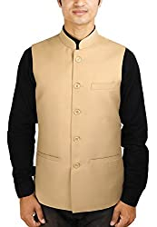 La Rainbow Mens Cotton Bandhgala Modi Jacket-Beige (42)