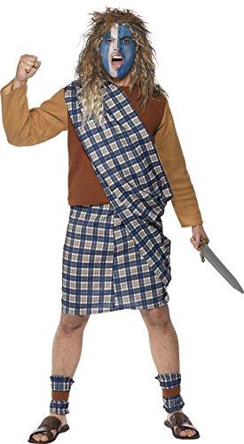 Smiffys, Herren Mutiger Schotte Kostüm, Oberteil, Kilt mit Schärpe und Stulpen, Größe: L, (Kostüm Braveheart Kostüm)