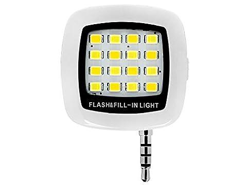 BlueBeach® Mini Selfie LED Flash de Lumière Photo Vidéo Lampe pour Smartphones (Blanc)