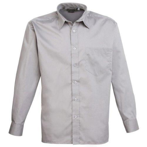 premier-workwear-pr200-para-hombre-negocio-hospitalidad-barwear-manga-larga-popelina-camisa-plata-ta