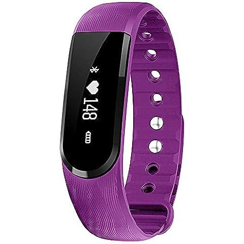 morefit H7impermeable pulsómetro reloj, HR Wireless Actividad + Sleep muñequera, color morado